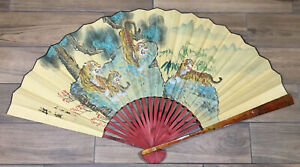 """Vintage Large Chinese Asian Hand Painted Wall Fan 25"""" X 44"""" Tigers- Signed"""