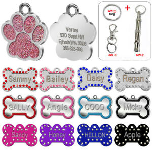 Bling Crystal Bone Paw Shape Pet Dog Tags Custom Personalized Dog Name ID Tag