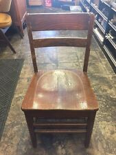 "Vintage School Chair Wooden  Church Library Chair Quarter Sawn 32""x17""x16"""