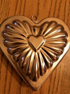 "Vintage Copper Jello Mold Hanger Heart Shape 6.5'  x 6.5"""