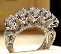925 Silver Generous White Sapphire Women Wedding Engagement Bridal Ring Size6-10
