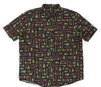 "Huf Men XXL 50"" Short Sleeve Button Shirt Beer Logo Parody Theme Black Cotton"