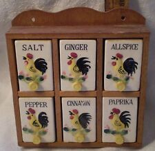 Vintage Spice Rack Ceramic Wood Rooster Chicken Japan