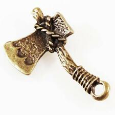 2 Bronze Plated Axe Charms Steampunk 29x17mm Woodcutter Fairytale High Quality