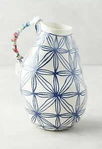 ANTHROPOLOGIE ANNA WESTERLUND KERAMISK BLUE STAR CERAMIC ART VASE ABSTRACT