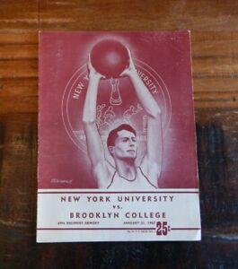 1947 NYU NEW YORK UNIVERSITY V BROOKLYN COLLEGE BASKETBALL PROGRAM DOLPH SCHAYES