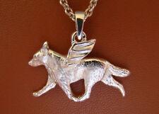 Large Sterling Silver Australian Cattle Dog Angel Pendant