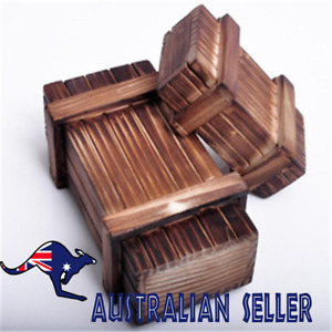 AU Wood Magic Puzzle Box Wooden Secret Mini Compartment Tricky Brain Teaser Toys