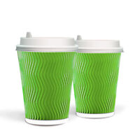 100 X 12oz Green Paper Cups Disposable Coffee Cups + 100 Free Lids Hot & Cold dr