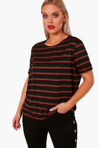 Plus Size Womens Ladies Oversized T-Shirt Crew Neck Turn Up Sleeve Stripe Top