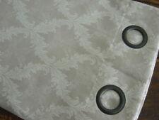 "Bellagio NATURAL TAUPE CREAM LINEN Blend DAMASK Grommet WINDOW PANELS 2PC 80x84"""