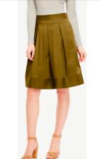 Ann Taylor - Size 18 (XXL) Olive Sprig Green Poplin Pleated Full Skirt $109.00