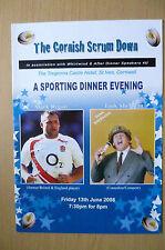 THE CORNISH SCRUM DOWN SPORTING DINNER MENU: with MARK REGAN 13/06/2008