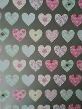 2 SHEETS OF GOOD QUALITY THICK GLOSSY VALENTINES DAY HEARTS WRAPPING PAPER