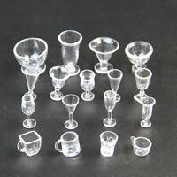 BIN 17pc/Set Dollhouse Mini Plastic Cups Dish Plates Miniatures Tableware P5O8