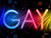Painting Graphic Neon Sign Gay Colourful Rainbow Canvas Art Print