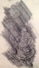 """Julian Ritter-Clown With Lady-Charcoal Tracing on Vellum 10"""" x 14""""Un-Signed- 374"""