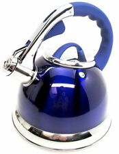 3.5 Litre Metallic Blue Stainless Steel Whistling Kettle Gas & Electric Hobs