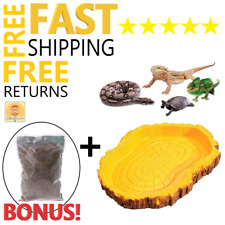 Reptile Cage Decoration Rock Tray Bowl Water & Food &