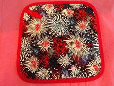 2 Handmade Pot Holders - Colorful Fireworks Explosions - 100% Cotton-Quilte