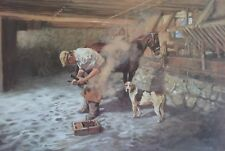 Wendy Stevenson, Horse and Dog Waiting, English Hunting Scene, Not Signed.