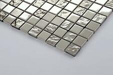 Silver Glass and Stainless Steel Mosaic Wall Tiles Textured and Smooth Mix 0129