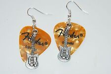 GUITAR PICK EARRINGS GOLD ROCK & ROLL EARRINGS & GUITAR CHARMS SILVER WIRES NEW!