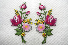 Pink roses pair flowers floral boutique Embroidered Sew Iron on Patch FREEship
