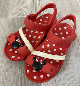 Disney Toddler Red Minnie Mouse Croc Sandals Size 10 *HARD TO FIND*