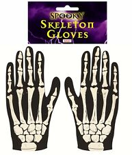 HALLOWEEN SKELETON GLOVES FANCY DRESS COSTUME PARTY ACCESSORY ADULT BONES PRINT