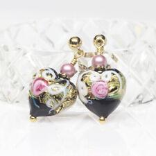 Black Floral Venetian Murano Glass Heart Earrings, Petite, Wedding Cake Earrings
