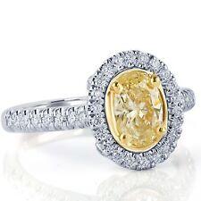 1.48 Carat Oval Cut Yellow Diamond Engagement Halo Ring 18k White Gold