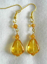 Glass Drop/Dangle Amber Round Costume Earrings