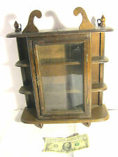 Vintage Large Wood Glass Door Table Top /Wall Hanging Display Curio Cabinet