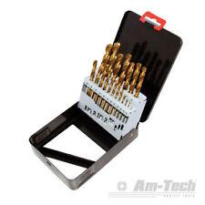 AM-TECH 19 TITANIUM COATED DRILL BIT SET METAL HOLDER BOX SIZES HSS 1-10mm F1140