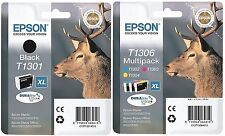 Epson T1306 + T1301 4 INKS BLACK CYAN MAGENTA & YELLOW