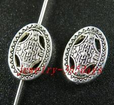 60pcs Tibetan Silver Oval Craft Spacers 14x10mm zn28524