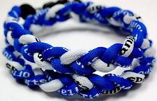 "Kids 18"" 3 Rope Titanium Sports Necklace Royal Blue White Tornado Baseball"
