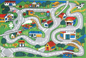 """4'3"""" x 6'6""""  Rug  Kids Play  Road  Map Street Country Driving Time Green New 5x7"""
