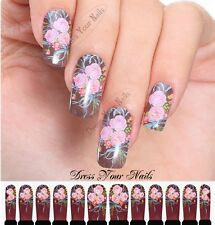 Water Decals - Bunch of Roses Pink Flowers Nail Wrap Sticker Transfer  - C4-014