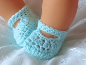 """DOLLS CLOTHES MINT GREEN HAND CROCHET KNITTED SHOES FIT REBORN BABY DOLL 15-19"""""""