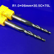 2PCS R1.0*D6*30.5*75L 2 Flute HRC55 Taper Ball Nose End Mill CNC Milling Cutter