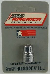 """3/8"""" drive 9mm 6 point REPLACEMENT SOCKET ProAmerica Premium MADE IN USA"""