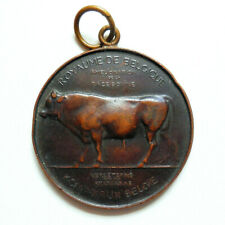 More details for belgian art deco agricultural bronze medal competition prize bull hainaut c1920