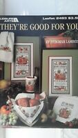 Lot of 2 Vintage Counted Cross Stitch Books/Booklets Fruit/Food 1992-93 EUC
