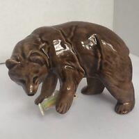 Vintage Porcelain Bear Unbranded Lomonosov? Royal ? Beautiful Sheen To Figure
