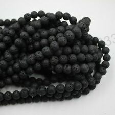 1Strand Natural Stone Beads Black Lava Rock Round Jewelry Making Gemstone 8MM