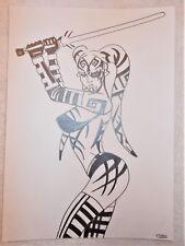 A4 Art Graphite Pencil Sketch Drawing Darth Talon with Lightsaber Star Wars a