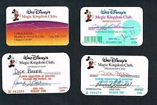 4 Disney's Magic Kingdom Club Member Membership Cards 1989-02 FREE Ship