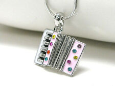 ACCORDION Whitegold Plating Crystal Accent Music Theme Pendant  Necklace